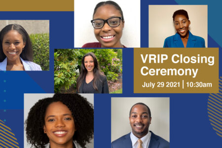 Headshots of VRIP Interns with the closing ceremony event date and time.