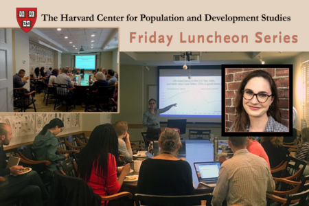 Collage of Friday Seminars at the Harvard Pop Center along with speaker Leah Abram's head shot