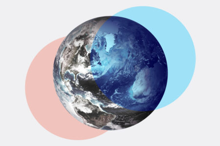Blue and red circles overlapping an image of the Earth from space