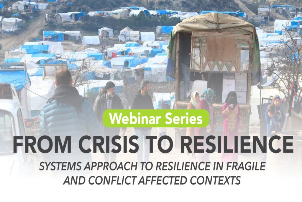 Title of webinar series on a faded background of refugee tents and a large truck carrying supplies in the forefront