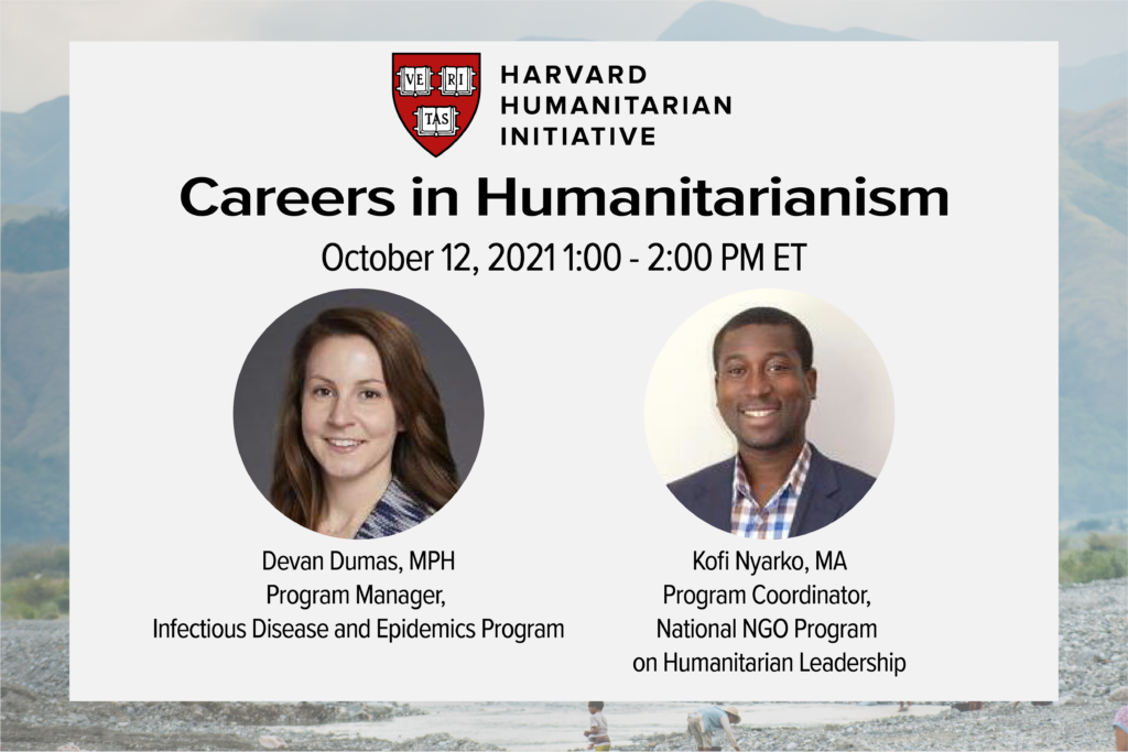 Flyer for Careers webinar featuring the headshots of the two speakers and their professional titles