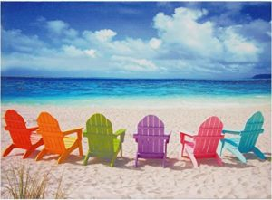 Multicolored beach chairs