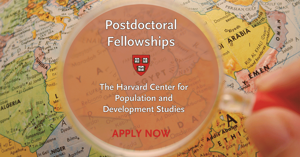 Call for applications: Interdisciplinary postdoctoral fellowships at Harvard Population Center