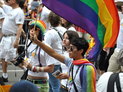Group of teens at gay pride parade