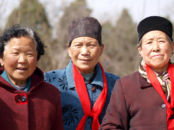 Three elderly Asian women