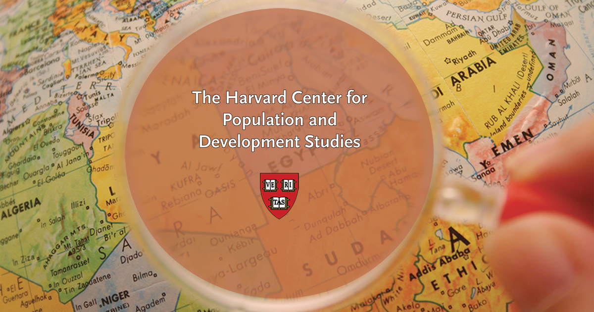 Map of countries with a magnifying glass hovering over them with the Harvard Center for Population and Development Studies logo layered on top