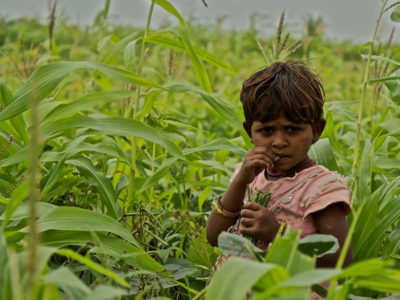 Child in a field in India