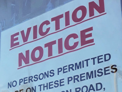 Eviction notice taped to a door