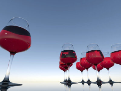 Multiple glasses of red wine