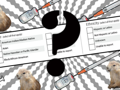 Collage with COVID-19 vaccines, race and ethnicity form with a question mark
