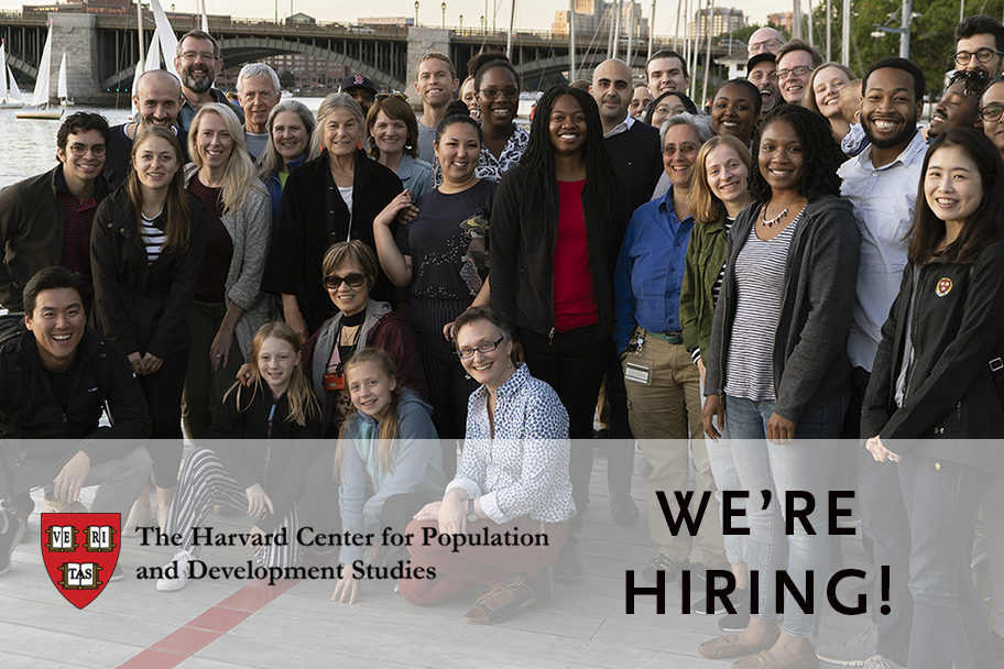 A group of Harvard Pop Center staff and faculty, the logo, and an announcement that we are hiring!