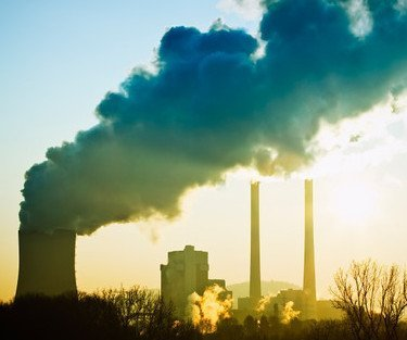 Air pollution smoke stacks-M