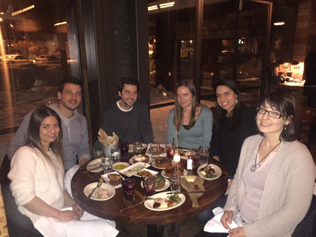 Lab Dinner Feb 2015. L>R, Nessa, Will, Kris, Heather. Caroline E, Caroline H.