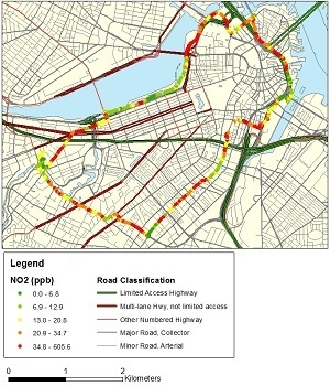 NO2 concentrations measured by bicycle