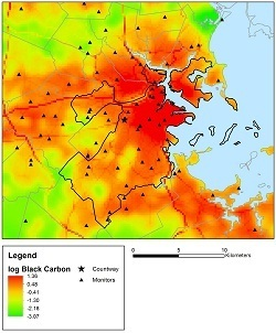 Covariates calculated with GIS  are used in a statistical model to predict daily black carbon air pollution