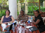 Dr. Donna Spiegelman, Professor of Epidemiologic Methods, Harvard T.H. Chan School of Public Health, with Dr. Marina Njelekela, Chair, Department of Physiology, Muhimbili University of Health and Allied Sciences, Dar es Salaam, and Dr. Dorothy Gimbi, Professor of Nutrition, meeting in Dar es Salaam, Tanzania to discuss the pilot diabetes prevention trial.