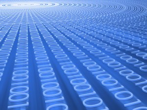 Explosion of binary numbers forming a sequence of codes.