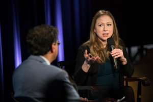 Chelsea Clinton spoke in the Voices in Leadership series, with Atul Gawande moderating