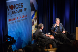 Janet Napolitano speaks at Voices in Leadership series at Harvard T. H. Chan School of Public Health
