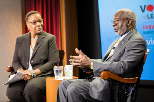 David Satcher speaks at Voices in Leadership on October 27, 2015. Dean Joan Reede, left, interviewed.
