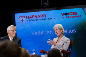 Kathleen Sebelius speaks at Voices in Leadership. Dr. Timothy Johnson of ABC News moderated.