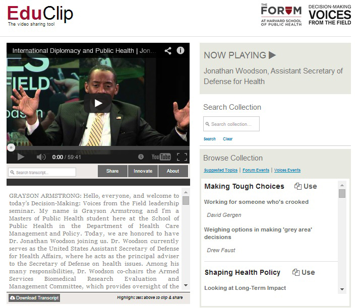 Click to Launch EduClip, the video sharing tool