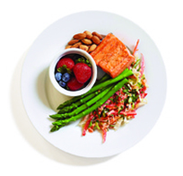Salmon, fresh berries, grilled asparagus, and nuts
