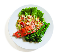 Salmon on quinoa with mixed vegetables