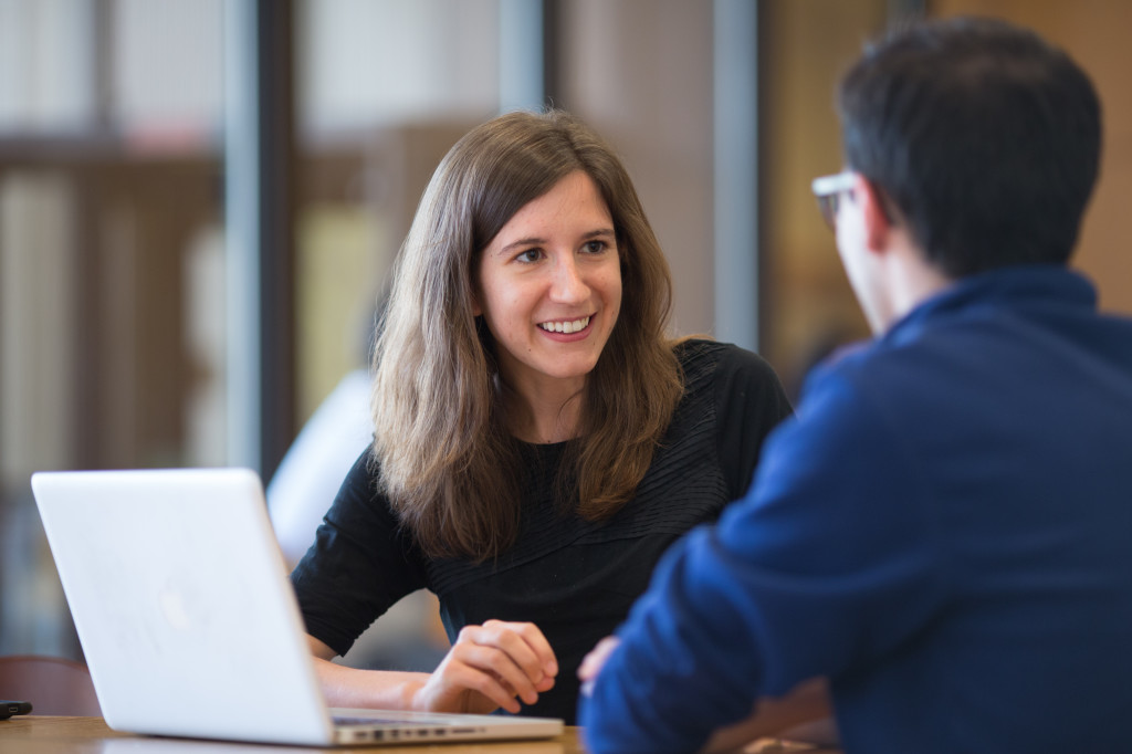 Two Harvard MPH in Epidemiology students collaborate on a class assignment.