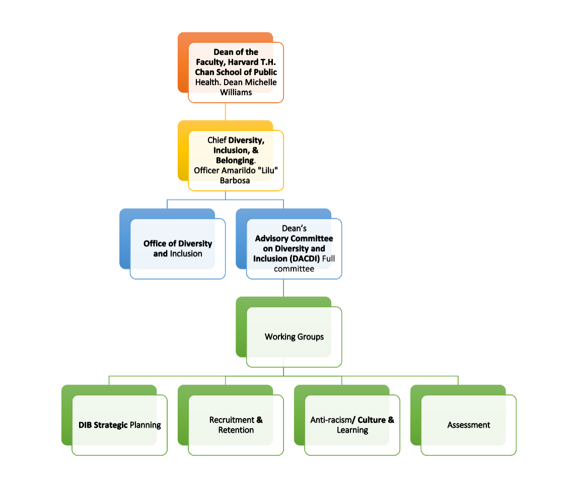 Flow chart describing DACDI structure. Dean of the Faculty is at the top level, then the Chief Diversity, Inclusion & Belonging Officer, who oversees the Office of Diversity and Inclusion and the DACDI. Underneath the DACDI there are four working groups: DIB Strategic Planning, Recruitment and Retention, Anti-racism/Culture and Learning, and Assessment