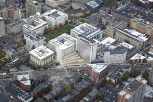 Aerial view of the School and Longwood Medical Area