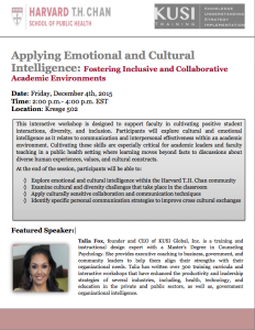 "Talia Fox ""Applying Emotional and Cultural Intelligence: fostering Inclusive and Collaborative Academic Environments"" @ Kresge 502"