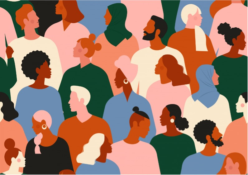 artwork of people of different races, sexes, hair