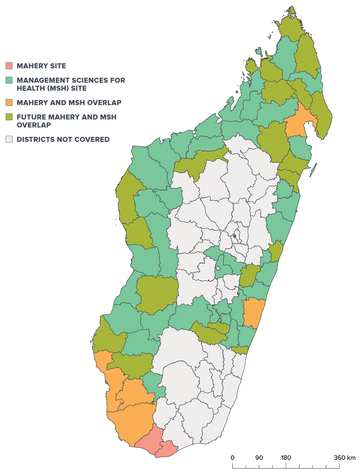 Outlined map of Madagascar with districts colored in based on study activity in that area