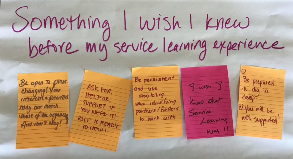 Fellows reflect on what they wish they knew before starting their service learning experience