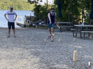 Zintis going for the king in Kubb.