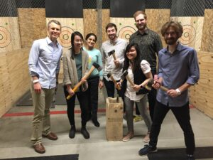 Team building by axe throwing.
