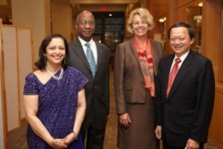 Alumni Award of Merit winners Swati Piramal, MPH '92, Donald Hopkins, MPH '70, Patricia Hartge, AB '71, SM '76, SD '83, and Ching-Chuan Yeh, MPH '81