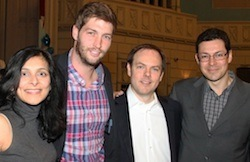 Chicago Bears quarterback Jay Cutler (second from left) poses with HSPH students (L to R) Priti Lakhani, Tobias Barker, and Jose Oberholzer.