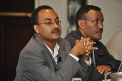 Ethiopia's State Minister of Health Keseteberhan Admassu and a colleague