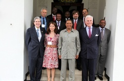 HSPH Dean Julio Frenk (bottom row far left), and Tanzania President Jakaya Kikwete (front row, second from right), with former U.S. Ambassador John Danilovich and his wife Irene (also in the front row).  Also pictured are members of the Tanzania government and HSPH faculty members Walter Willett, David Hunter, and Wafaie Fawzi.