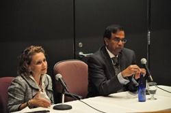 Felicia Knaul (l) and Srinath Reddy