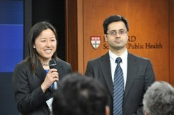 Student government representatives Melissa Shive, MPH '12, and Syed Kashif Mahmood, MPH '14, introduced the event.