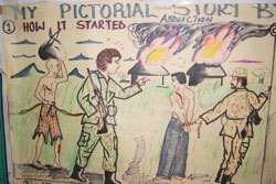 Drawings by a former child soldier in northern Uganda describe his experience as an abductee.