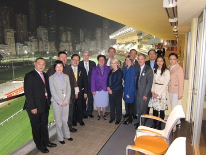 HSPH Dean Julio Frenk (fifth from left) poses with health sector leaders at the Hong Kong Jockey Club, known for its public health philanthropy. Frenk was hosted by Dr. Donald Li, president of the World Organization of Family Doctors-Asia Pacific Region (fourth from left).