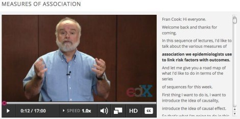 In a still shot from the online course PH207x, professor E. Francis Cook discusses how epidemiologists use measures of association to link risk factors with outcomes.