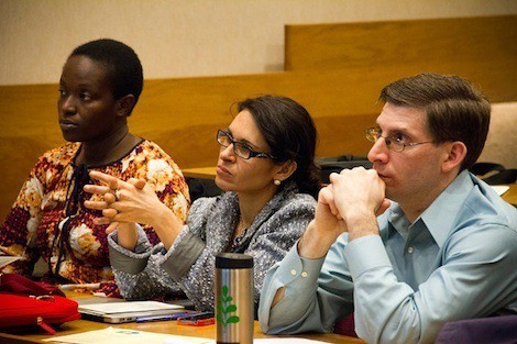 Symposium speakers included, from left: Mary Mwanyika Sando of Muhimbili University in Tanzania; Francesca Dominici of HSPH's biostatistics department; and Jonathan Levy of the Boston University School of Public Health