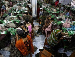 Sweat shops similar to this garment factory in Bangladesh frequently employ bonded laborers, including children.