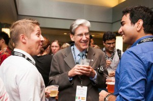 Dean Julio Frenk, center, meets new students
