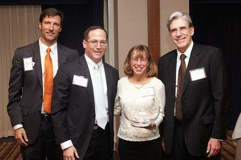 From left to right: Professor Michael VanRooyen, Jonathan Lavine and Jeannie Lavine, and Dean Julio Frenk